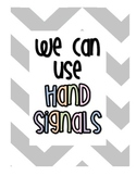 Chevron Hand Signals for Classroom Management