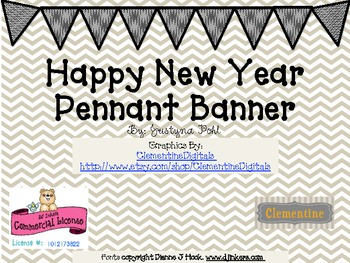 Chevron Happy New Year Triangle Pennant Banner