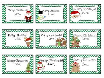 Chevron Holiday Gift Tags