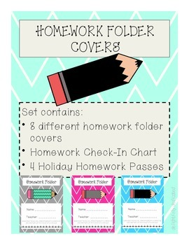 Chevron Homework Folder Covers