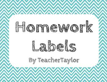 Chevron Homework Labels/Subject Cards