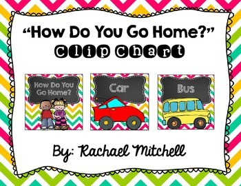 """Chevron """"How Do You Go Home?"""" Clip Chart- {Pink, teal, yellow, and lime green}"""