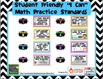"Chevron ""I Can"" Common Core Math Practice Standards (Student Friendly)"