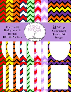 Chevron III Backgrounds and Borders HOLIDAY Pack