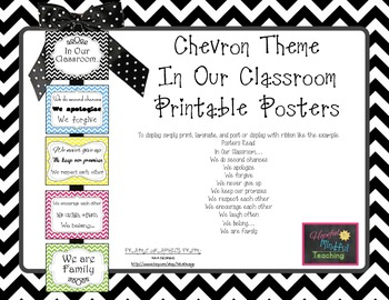 """Chevron """"In Our Classroom"""" Display Posters"""
