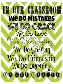 Chevron In Our Classroom Poster