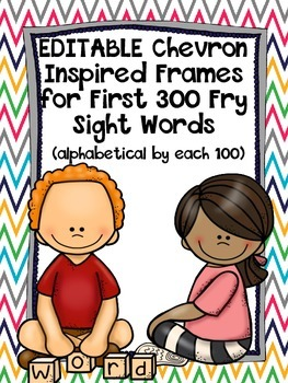 Editable Chevron Inspired Word Wall with Fry's First 300 Words & Headers