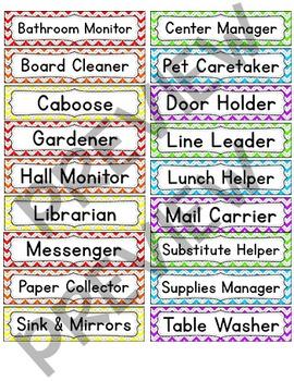 Chevron Theme Classroom Jobs Labels
