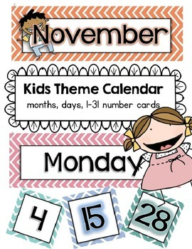 Chevron Kids Calendar Cards Classroom Theme Set for Back t