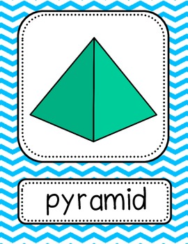3D Shapes Posters - Large {Bright Chevron}