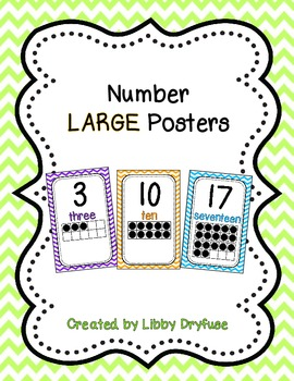 Number Posters - Large {Bright Chevron}