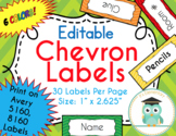 Chevron Labels Editable Classroom Notebook Folder Name Tags (Avery 5160, 8160)
