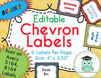 Chevron Labels Editable Classroom Notebook Folder Name Tags (Fall, Avery 5164)