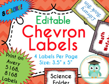 Chevron Labels Editable Classroom Notebook Folder Name Tags (FALL, Avery 5168)