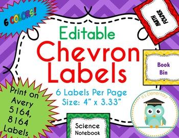 Chevron Labels Editable Classroom Notebook Folder Name Tags