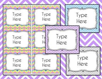 Chevron Labels Editable Notebook Folder Bin Labels (Pastels, Avery 5164, 8164)