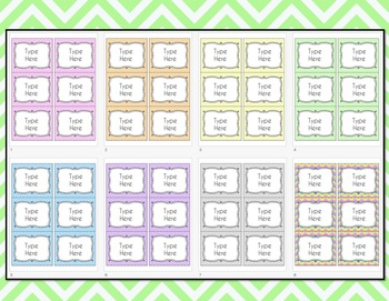 Chevron Labels Editable Classroom Notebook Folder (Pastels, Avery 5164, 8164)