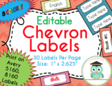 Chevron Labels Editable Classroom Notebook Folder Name (Party, Avery 5160, 8160)