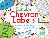 Chevron Labels Editable Classroom Notebook Folder Name Tags Pastels, Avery 5160