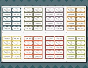 Chevron Labels EditableClassroom Notebook Folder Name Tags (FALL, Avery 5163)