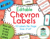 Chevron Labels Editable Classroom Notebook Folder Name (Party, Avery 5163, 8163)