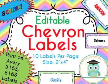 Chevron Labels Editable Classroom Notebook Folder Name Tags Pastels, Avery 5163