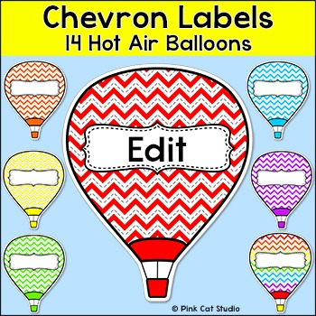 Chevron Labels - Hot Air Balloon