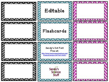 Chevron Flashcards (editable)