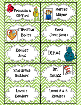Chevron Labels for Library Book Bins