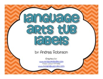 Chevron Language Arts Tub Labels - Freebie