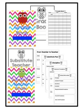 Chevron Lesson Plan Book, Grade Book, Substitute Teacher Binder {Customizable}