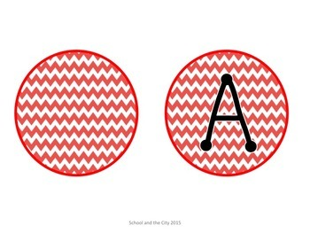 Chevron Letter Labels for Word Wall or Class Library: RED