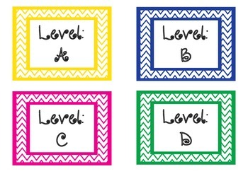 Chevron Leveled Library Book Bin Labels
