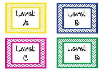 Chevron Leveled Library Book Bin Labels