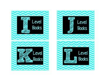 Chevron Leveled Library Labels {Turquoise & Black}