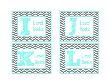 Chevron Leveled Library Labels {Turquoise & Grey}