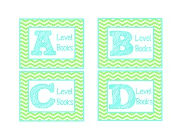 Chevron Leveled Library Labels {Turquoise & Lime Green}