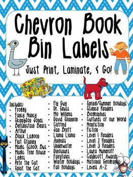 Chevron Library Labels - Chevron Book Bin Labels - Chevron Book Labels