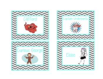 Chevron Library Labels by Series and Characters {Turquoise & Grey}