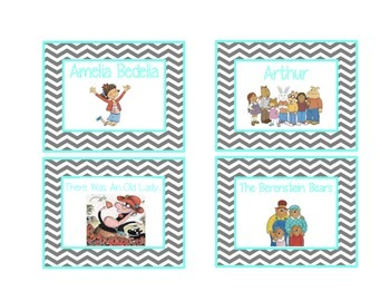 Chevron Library Labels by Series and Characters {Turquoise
