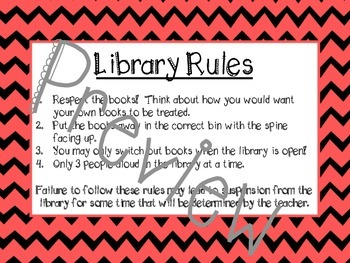 Chevron Library Rules and Hours Posters- Editable version included!
