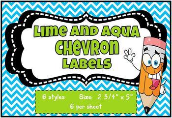 Chevron Lime and Aqua Labels *editable*