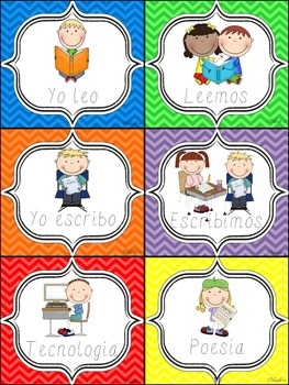 Chevron Literacy Station Labels (Spanish)