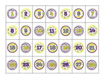 Chevron Lunch/Attendance Choices for 1 In Magnets purple yellow gray