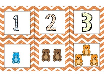 Chevron Math Center with Bear Counters with Interactive Journal work