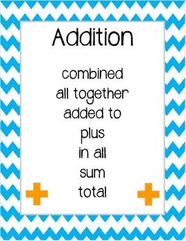 Chevron Math Clue Words