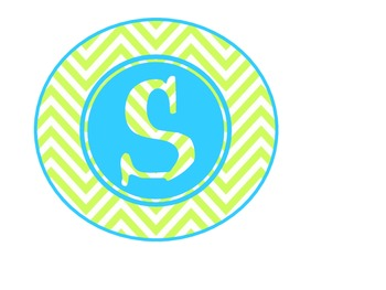 Chevron Math Focus Wall-Turquoise and Green