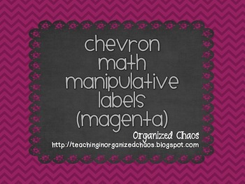 Chevron Math Manipulative Labels (Pink)