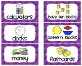Chevron Math Manipulative Labels (Purple)