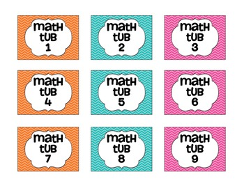 Chevron Math Tub Labels - Freebie